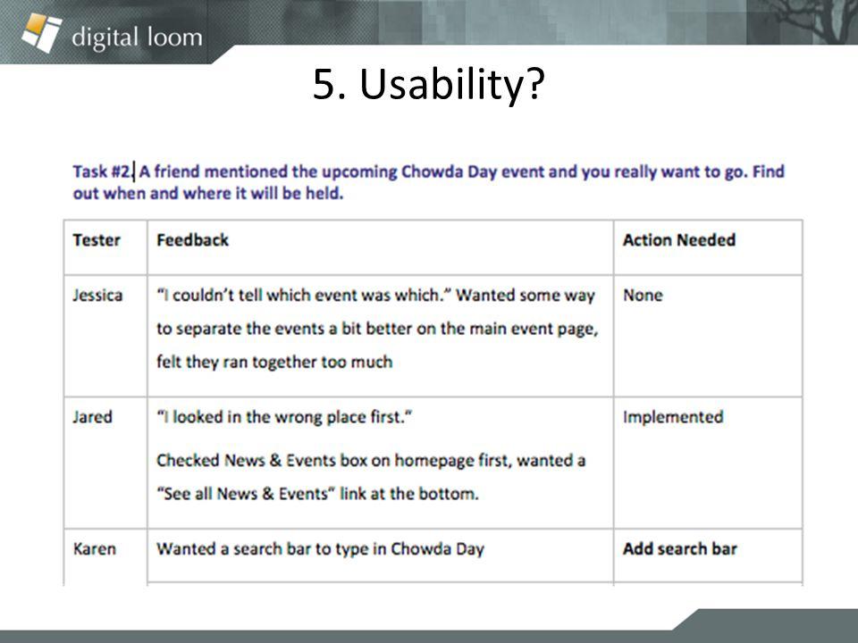 5. Usability