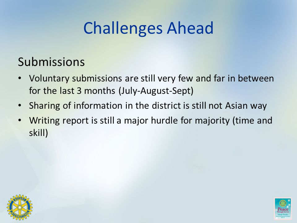 Challenges Ahead Submissions Voluntary submissions are still very few and far in between for the last 3 months (July-August-Sept) Sharing of information in the district is still not Asian way Writing report is still a major hurdle for majority (time and skill)