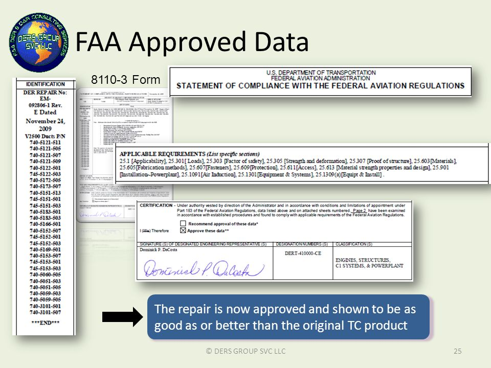 FAA Approved Data © DERS GROUP SVC LLC25 8110-3 Form The repair is now approved and shown to be as good as or better than the original TC product