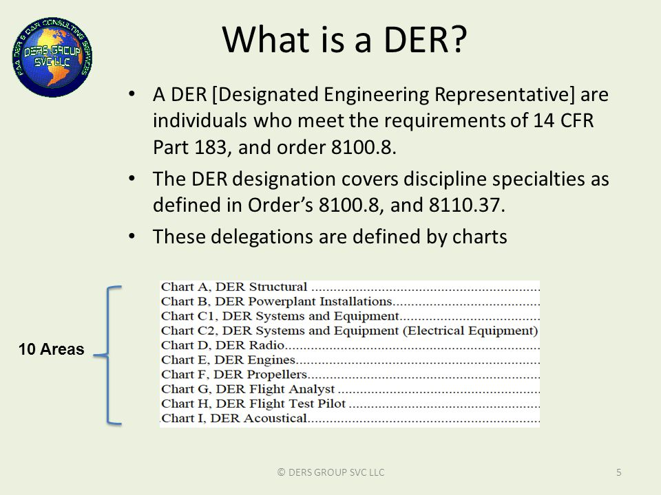 What is a DER? A DER [Designated Engineering Representative] are individuals who meet the requirements of 14 CFR Part 183, and order 8100.8. The DER d