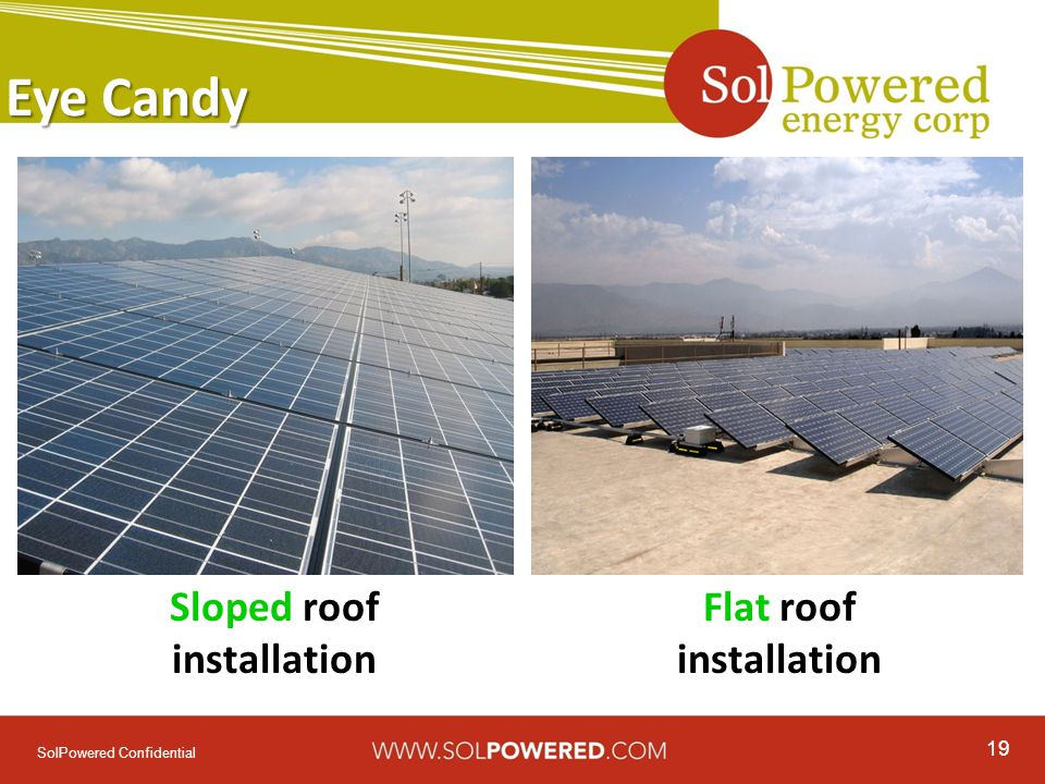 19 SolPowered Confidential Eye Candy Sloped roof installation Flat roof installation