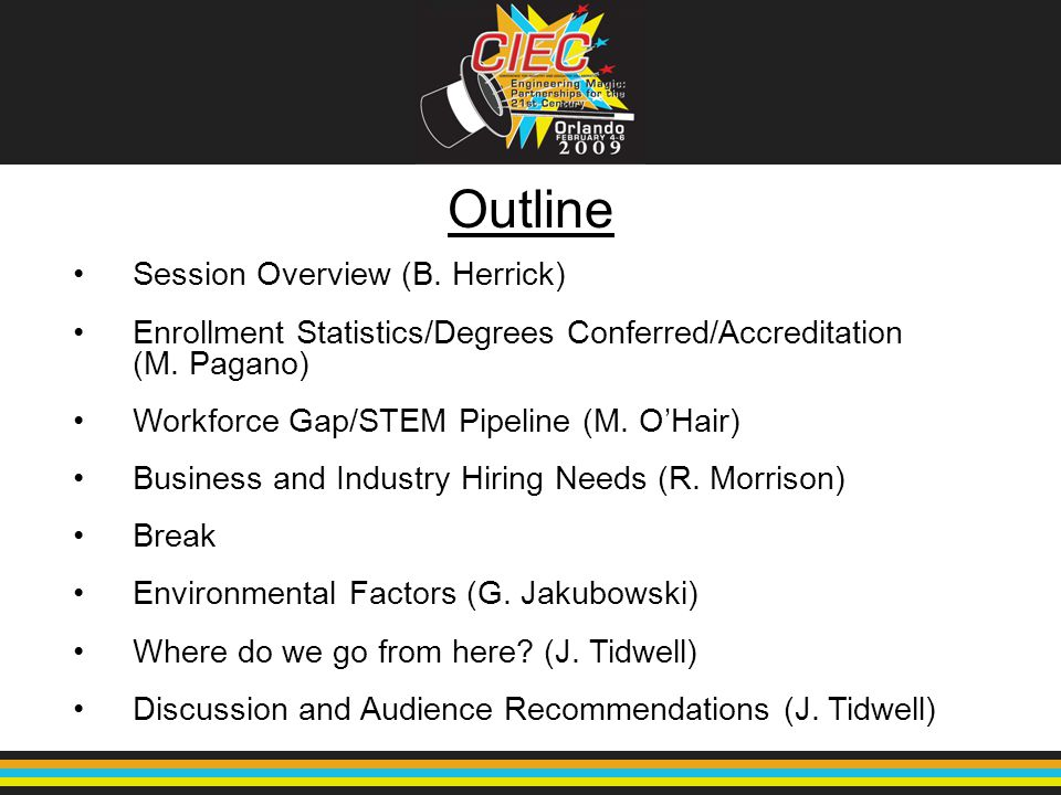 Outline Session Overview (B. Herrick) Enrollment Statistics/Degrees Conferred/Accreditation (M. Pagano) Workforce Gap/STEM Pipeline (M. O'Hair) Busine
