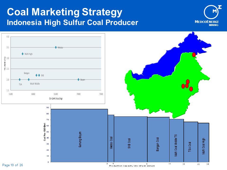 M EDCO E NERG I MINING Page 19 of 26 Coal Marketing Strategy Indonesia High Sulfur Coal Producer