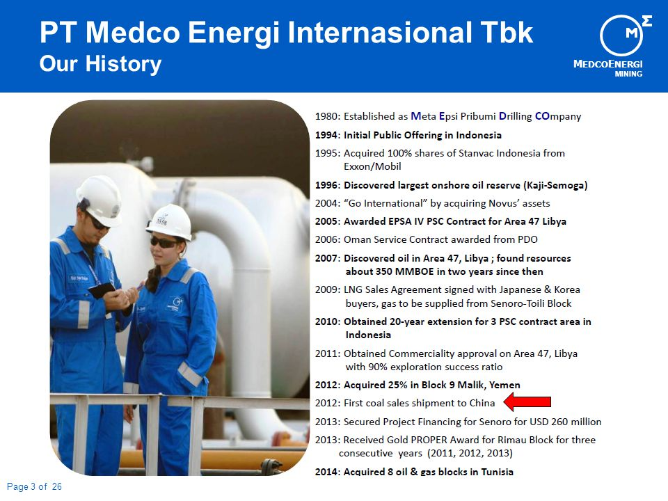 M EDCO E NERG I MINING Page 3 of 26 PT Medco Energi Internasional Tbk Our History
