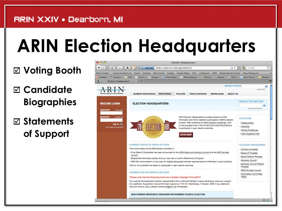 ARIN Election Headquarters  Voting Booth  Candidate Biographies  Statements of Support