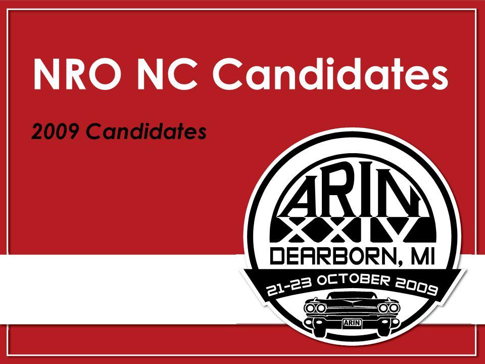 NRO NC Candidates 2009 Candidates