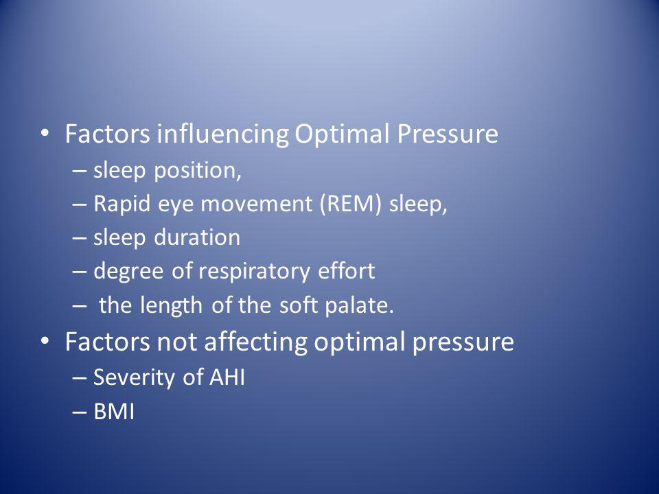 Factors influencing Optimal Pressure – sleep position, – Rapid eye movement (REM) sleep, – sleep duration – degree of respiratory effort – the length