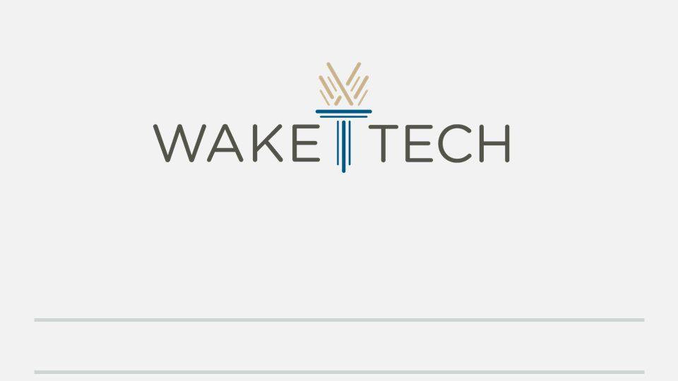 Slide displaying image of Wake Tech's logo