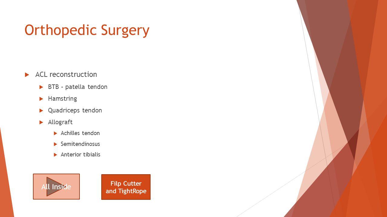 Orthopedic Surgery  ACL reconstruction  BTB – patella tendon  Hamstring  Quadriceps tendon  Allograft  Achilles tendon  Semitendinosus  Anterior tibialis All Inside Filp Cutter and TightRope