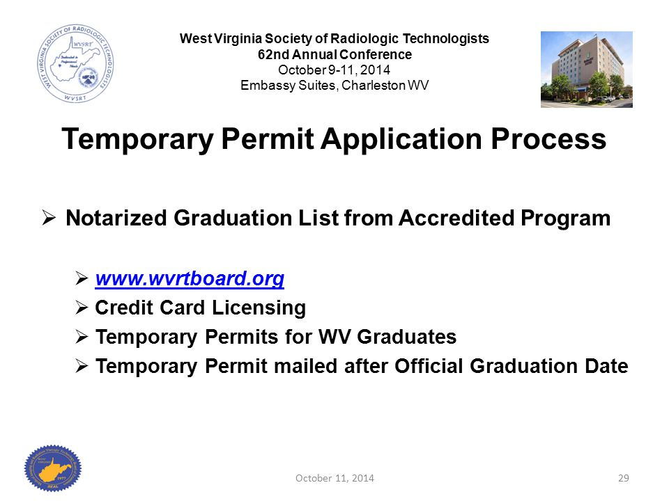 Temporary Permit Application Process  Notarized Graduation List from Accredited Program  www.wvrtboard.org www.wvrtboard.org  Credit Card Licensing