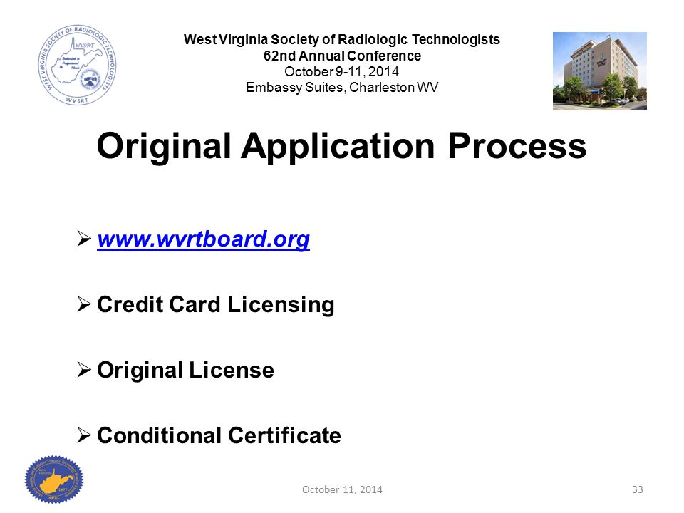 Original Application Process  www.wvrtboard.org www.wvrtboard.org  Credit Card Licensing  Original License  Conditional Certificate October 11, 20
