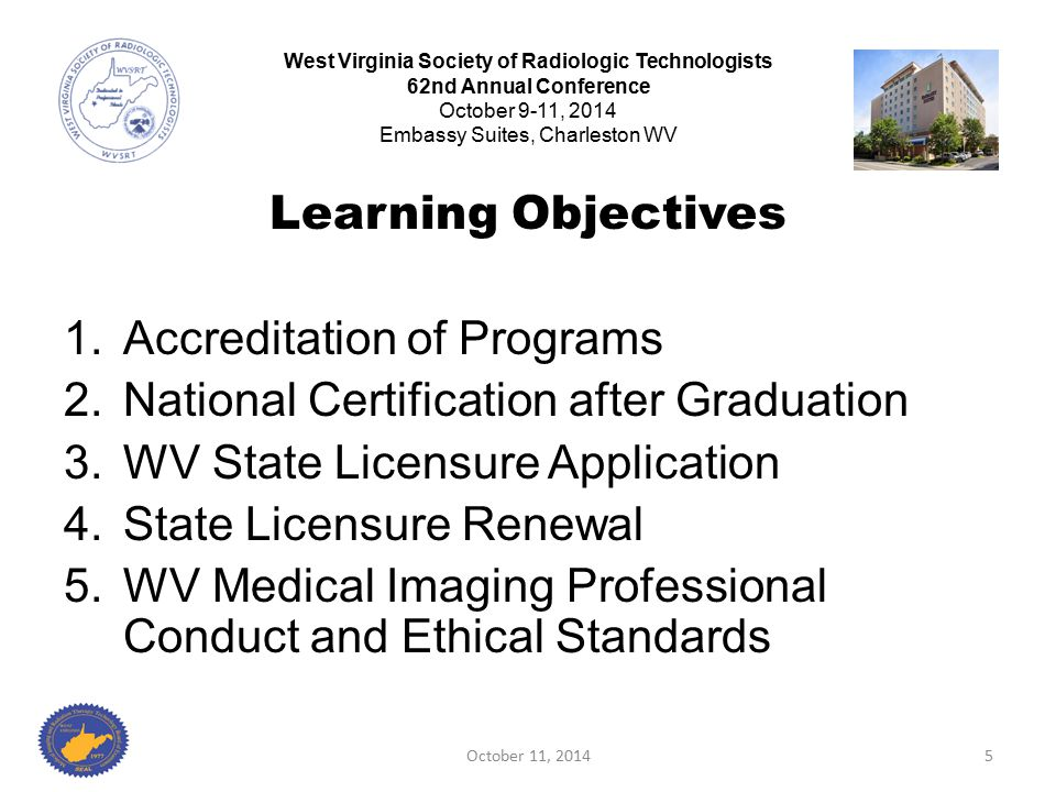 October 11, 201456 West Virginia Society of Radiologic Technologists 62nd Annual Conference October 9-11, 2014 Embassy Suites, Charleston WV