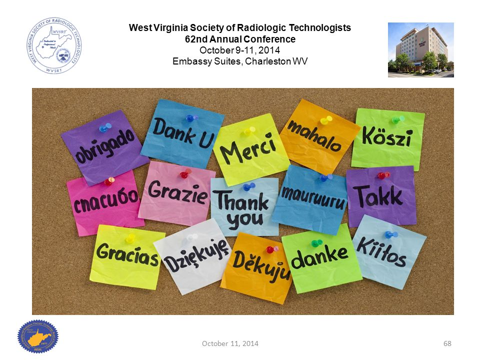 October 11, 201468 West Virginia Society of Radiologic Technologists 62nd Annual Conference October 9-11, 2014 Embassy Suites, Charleston WV