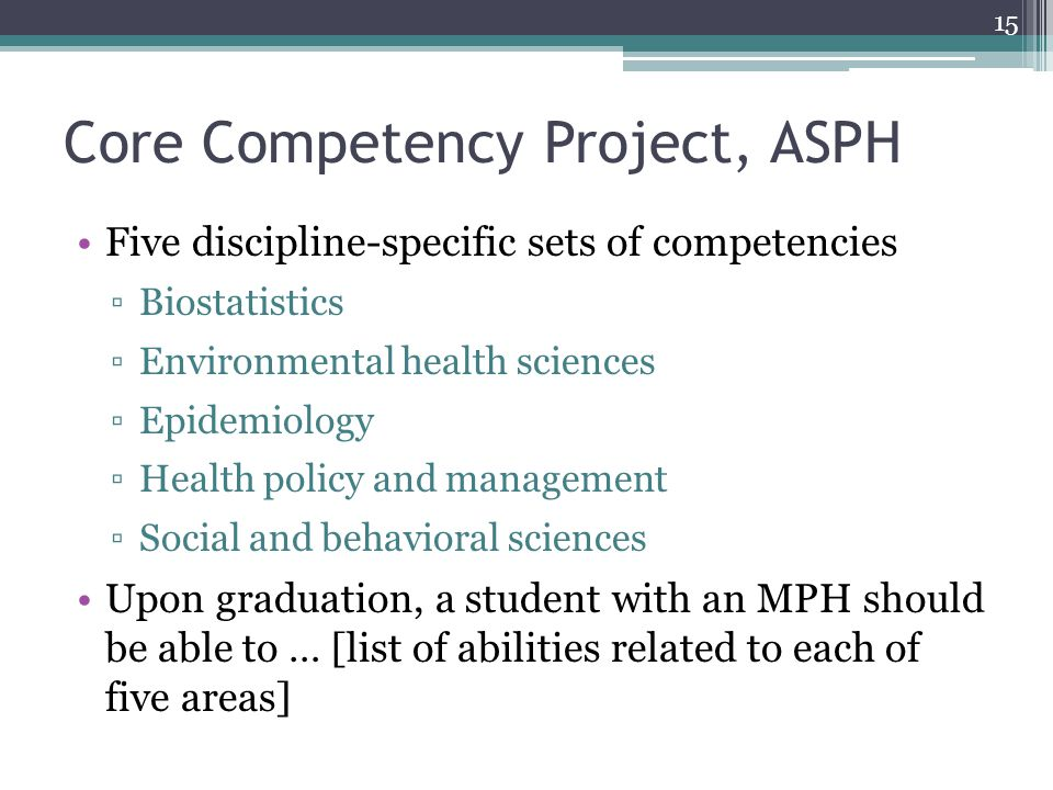 Core Competency Project, ASPH Five discipline-specific sets of competencies ▫Biostatistics ▫Environmental health sciences ▫Epidemiology ▫Health policy and management ▫Social and behavioral sciences Upon graduation, a student with an MPH should be able to … [list of abilities related to each of five areas] 15