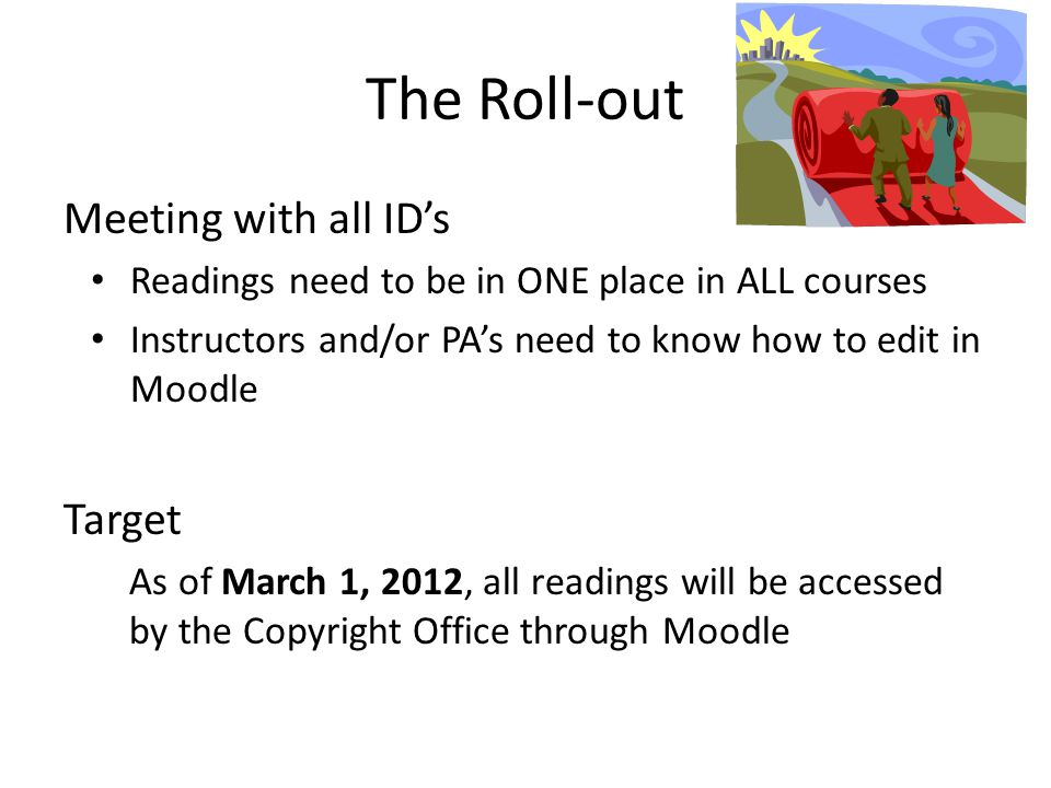The Roll-out Meeting with all ID's Readings need to be in ONE place in ALL courses Instructors and/or PA's need to know how to edit in Moodle Target As of March 1, 2012, all readings will be accessed by the Copyright Office through Moodle