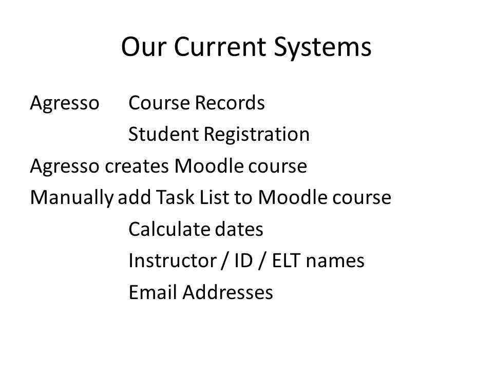 Our Current Systems Agresso Course Records Student Registration Agresso creates Moodle course Manually add Task List to Moodle course Calculate dates Instructor / ID / ELT names Email Addresses