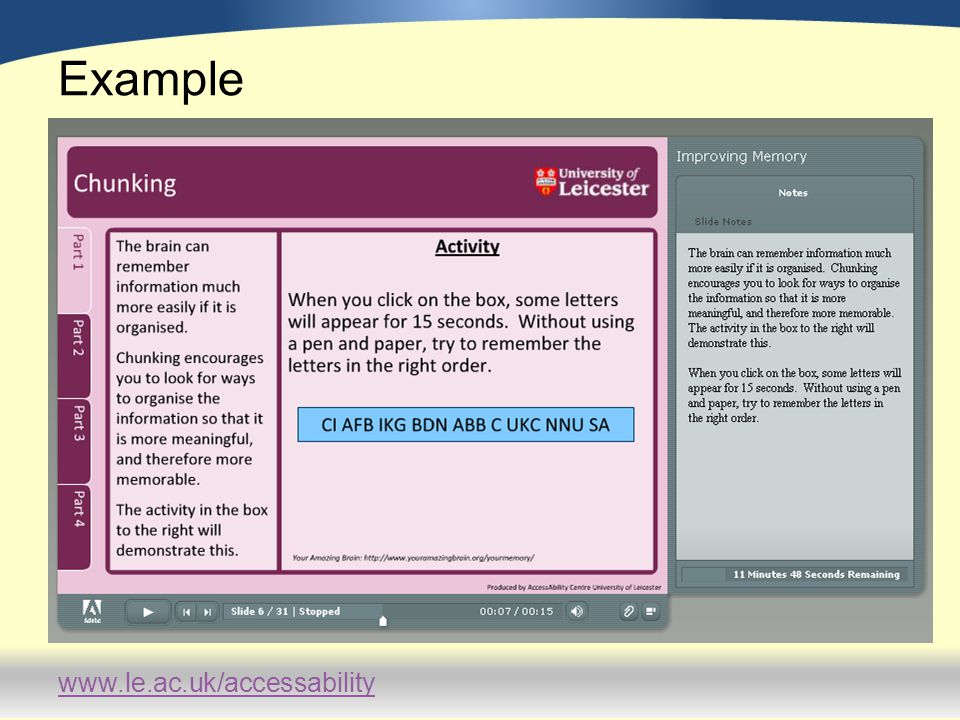 www.le.ac.uk/accessability Feedback – Points for improvement Students didn't like font size and theme.