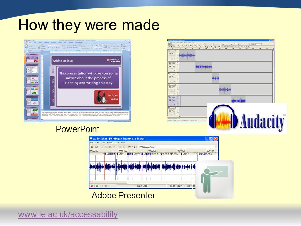 www.le.ac.uk/accessability How they were made PowerPoint Adobe Presenter