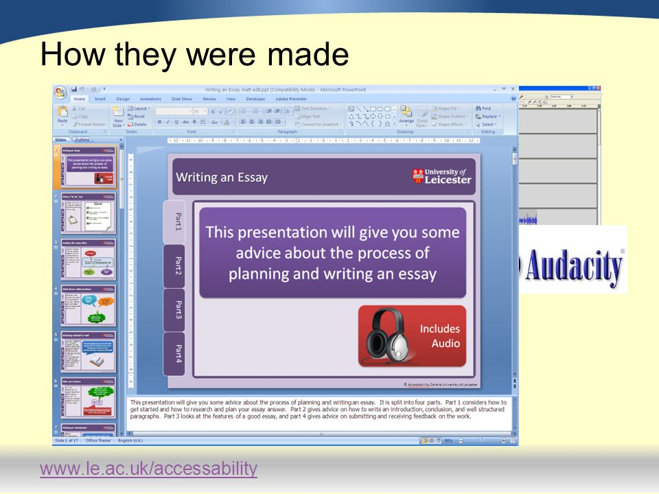www.le.ac.uk/accessability Examples of study guides Improving Memory http://connect.le.ac.uk/memory Essay Writing http://connect.le.ac.uk/essaywriting