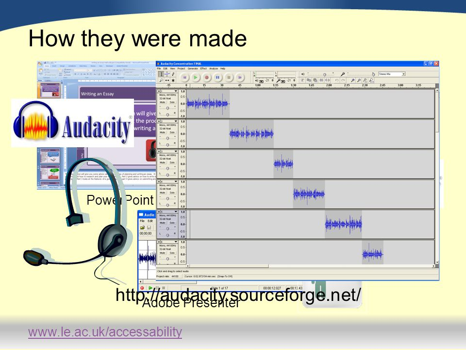 www.le.ac.uk/accessability How they were made PowerPoint Adobe Presenter http://audacity.sourceforge.net/