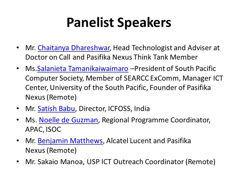 Panelist Speakers Mr.
