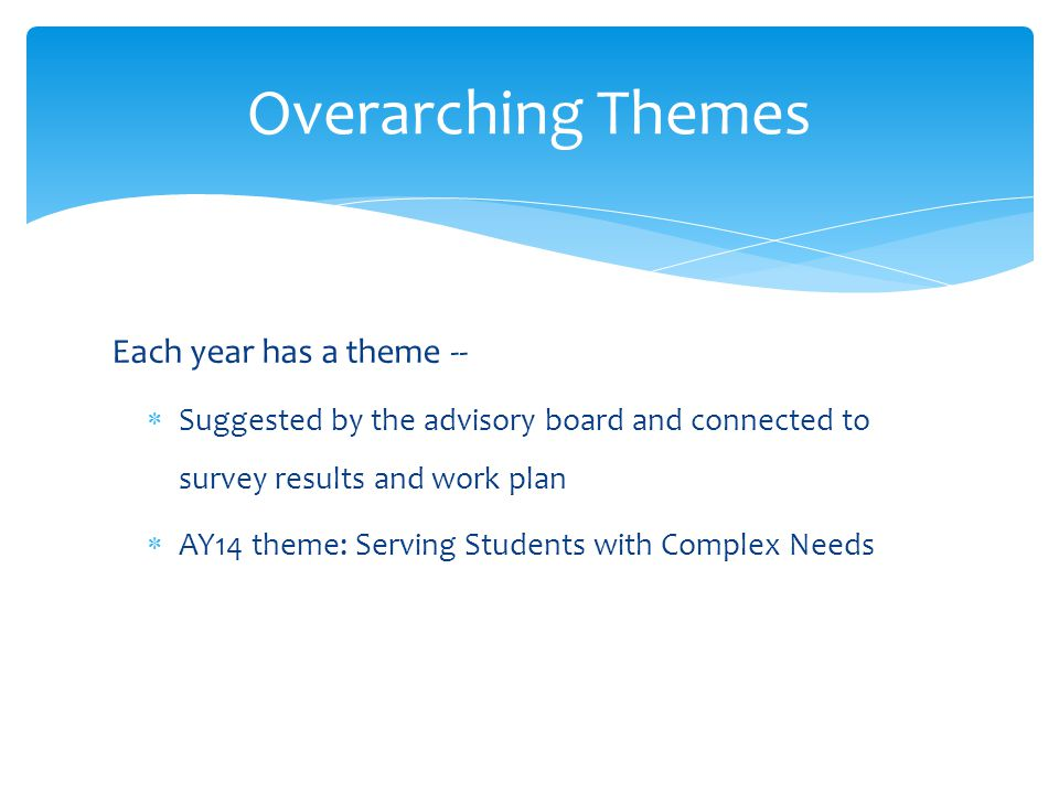 Each year has a theme --  Suggested by the advisory board and connected to survey results and work plan  AY14 theme: Serving Students with Complex Needs Overarching Themes