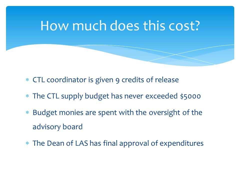  CTL coordinator is given 9 credits of release  The CTL supply budget has never exceeded $5000  Budget monies are spent with the oversight of the advisory board  The Dean of LAS has final approval of expenditures How much does this cost