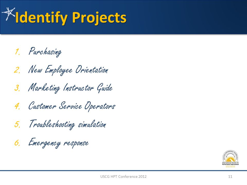 Identify Projects 1. Purchasing 2. New Employee Orientation 3.