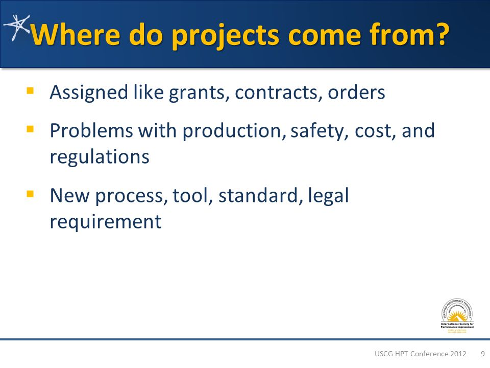 Selecting CPT Projects 1.Identify projects you've done 2.