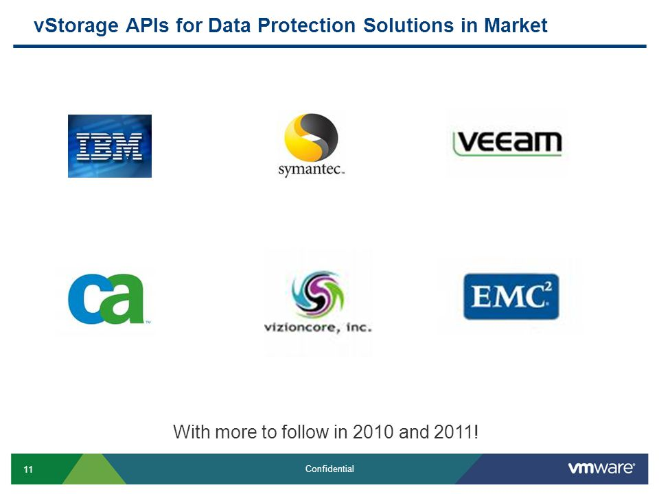 11 Confidential vStorage APIs for Data Protection Solutions in Market With more to follow in 2010 and 2011!