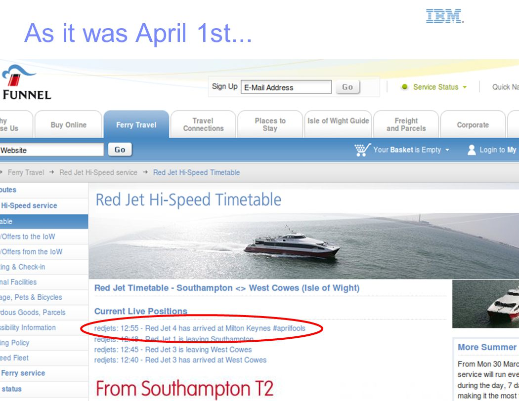IBM Smarter Planet As it was April 1st...