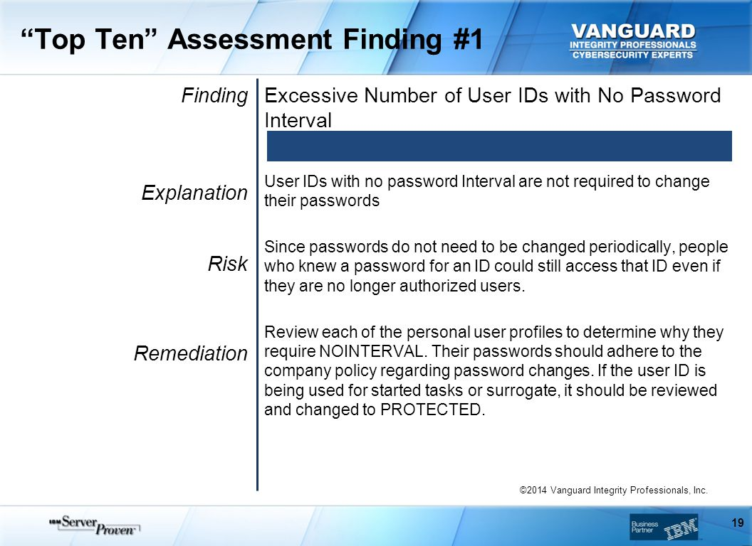 Top Ten Assessment Finding #1 Finding Explanation Risk Remediation Excessive Number of User IDs with No Password Interval User IDs with no password Interval are not required to change their passwords Since passwords do not need to be changed periodically, people who knew a password for an ID could still access that ID even if they are no longer authorized users.