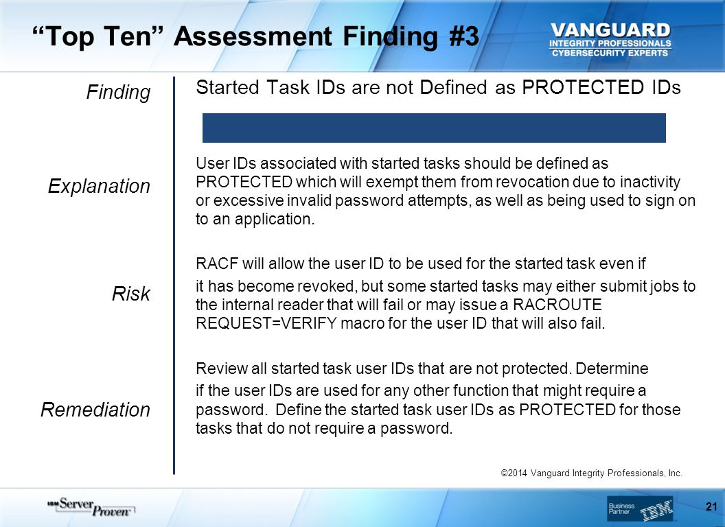 Top Ten Assessment Finding #3 Finding Explanation Risk Remediation Started Task IDs are not Defined as PROTECTED IDs User IDs associated with started tasks should be defined as PROTECTED which will exempt them from revocation due to inactivity or excessive invalid password attempts, as well as being used to sign on to an application.