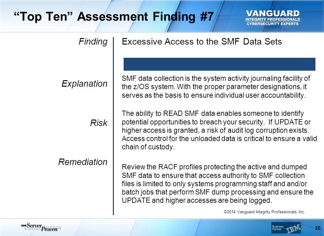 Top Ten Assessment Finding #7 Finding Explanation Risk Remediation Excessive Access to the SMF Data Sets SMF data collection is the system activity journaling facility of the z/OS system.