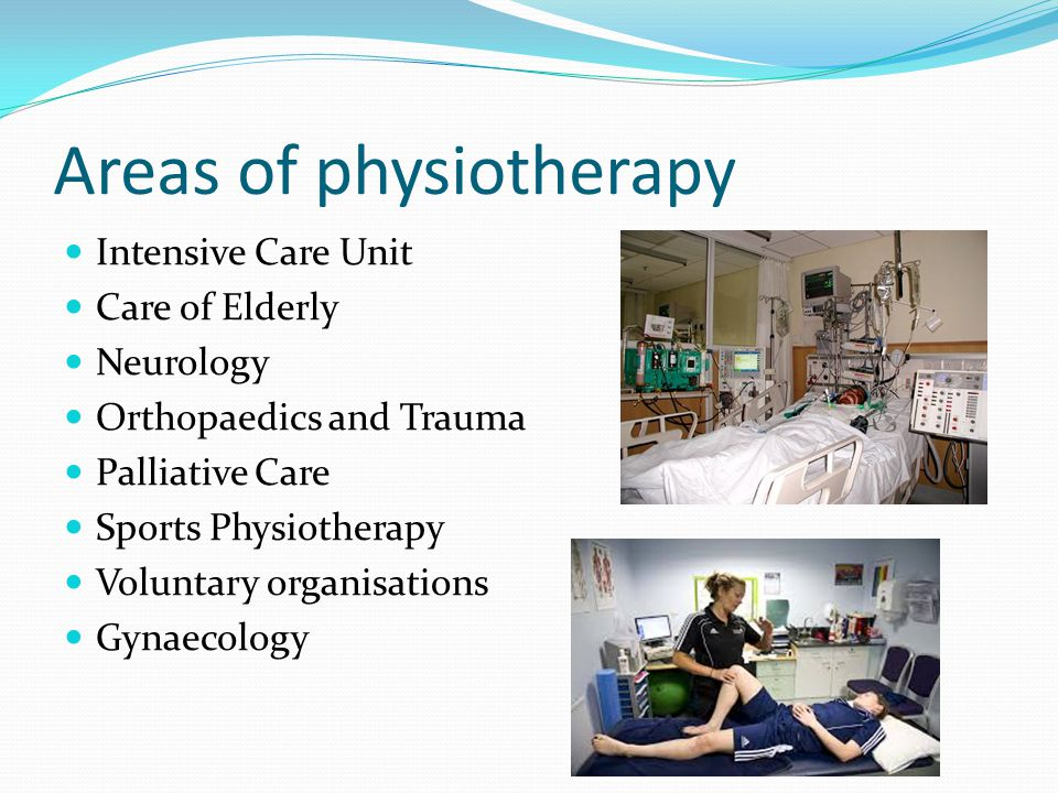 Areas of physiotherapy Intensive Care Unit Care of Elderly Neurology Orthopaedics and Trauma Palliative Care Sports Physiotherapy Voluntary organisations Gynaecology