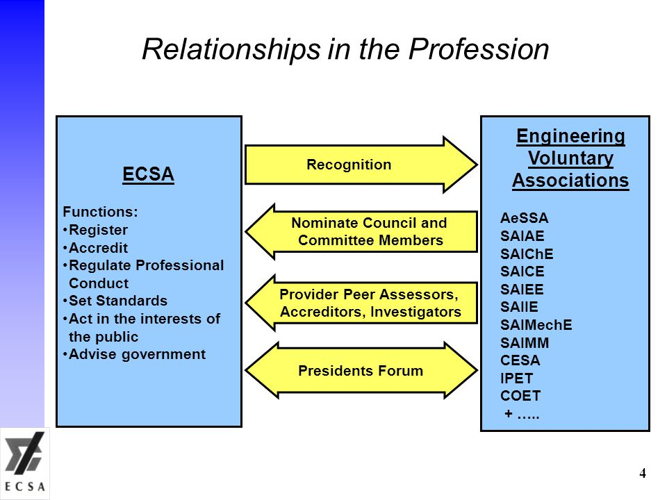 Relationships in the Profession ECSA Functions: Register Accredit Regulate Professional Conduct Set Standards Act in the interests of the public Advise government Engineering Voluntary Associations AeSSA SAIAE SAIChE SAICE SAIEE SAIIE SAIMechE SAIMM CESA IPET COET + …..
