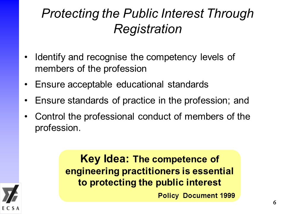 Protecting the Public Interest Through Registration Identify and recognise the competency levels of members of the profession Ensure acceptable educational standards Ensure standards of practice in the profession; and Control the professional conduct of members of the profession.