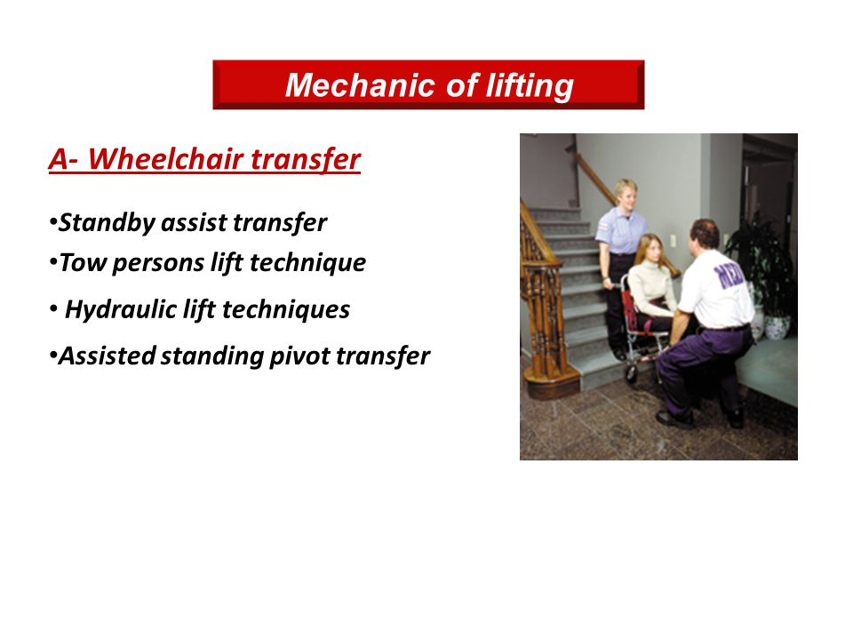 A- Wheelchair transfer Tow persons lift technique Standby assist transfer Hydraulic lift techniques Assisted standing pivot transfer Mechanic of lifti