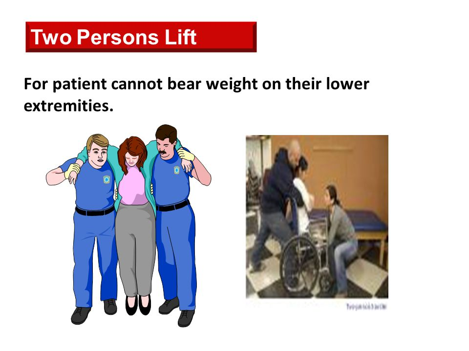 Two Persons Lift For patient cannot bear weight on their lower extremities.