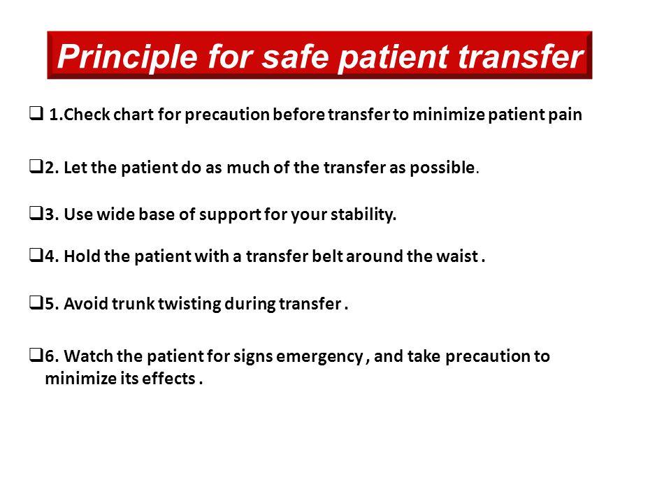 Principle for safe patient transfer  1.