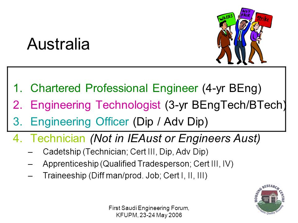 First Saudi Engineering Forum, KFUPM, 23-24 May 2006 Australia 1.Chartered Professional Engineer (4-yr BEng) 2.Engineering Technologist (3-yr BEngTech/BTech) 3.Engineering Officer (Dip / Adv Dip) 4.Technician (Not in IEAust or Engineers Aust) –Cadetship (Technician; Cert III, Dip, Adv Dip) –Apprenticeship (Qualified Tradesperson; Cert III, IV) –Traineeship (Diff man/prod.