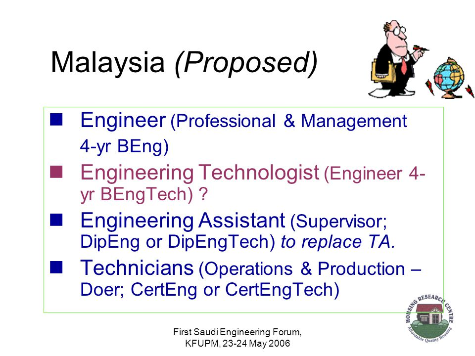 First Saudi Engineering Forum, KFUPM, 23-24 May 2006 Malaysia (Proposed) Engineer (Professional & Management 4-yr BEng) Engineering Technologist (Engineer 4- yr BEngTech) .