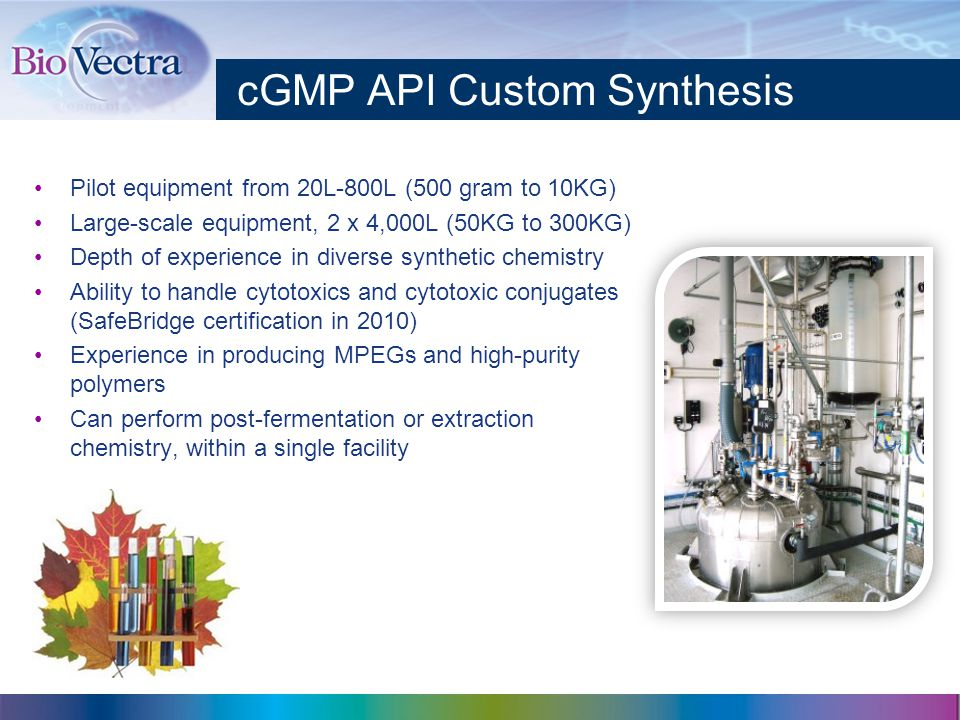 cGMP API Custom Synthesis Pilot equipment from 20L-800L (500 gram to 10KG) Large-scale equipment, 2 x 4,000L (50KG to 300KG) Depth of experience in diverse synthetic chemistry Ability to handle cytotoxics and cytotoxic conjugates (SafeBridge certification in 2010) Experience in producing MPEGs and high-purity polymers Can perform post-fermentation or extraction chemistry, within a single facility