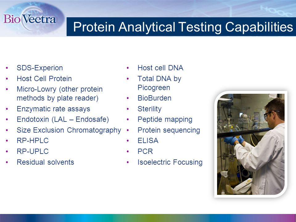 Protein Analytical Testing Capabilities SDS-Experion Host Cell Protein Micro-Lowry (other protein methods by plate reader) Enzymatic rate assays Endotoxin (LAL – Endosafe) Size Exclusion Chromatography RP-HPLC RP-UPLC Residual solvents Host cell DNA Total DNA by Picogreen BioBurden Sterility Peptide mapping Protein sequencing ELISA PCR Isoelectric Focusing