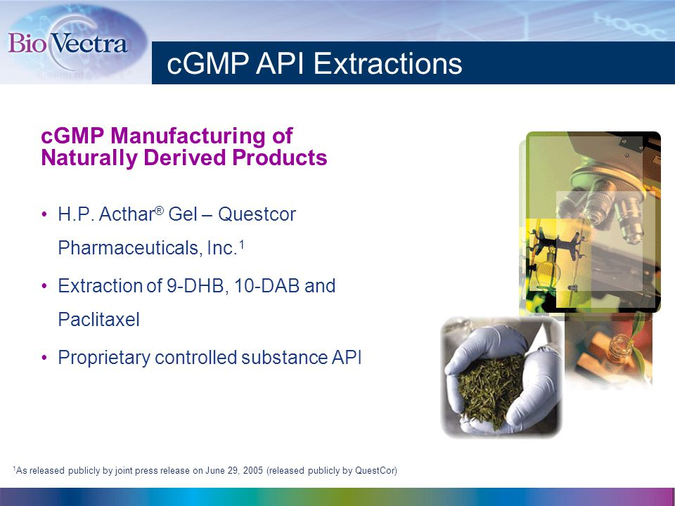 cGMP Manufacturing of Naturally Derived Products H.P.