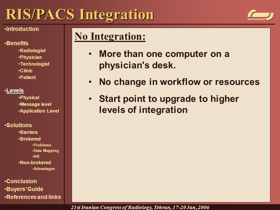 No Integration: More than one computer on a physician's desk. No change in workflow or resources Start point to upgrade to higher levels of integratio