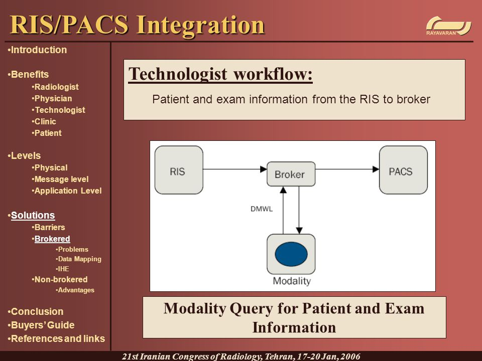 Technologist workflow: Patient and exam information from the RIS to broker Modality Query for Patient and Exam Information RIS/PACS Integration 21st I