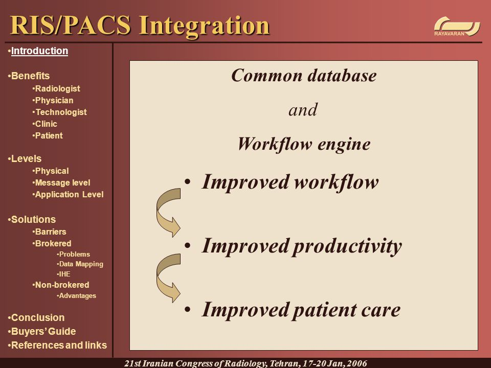 Herman Oosterwijk, The seven levels of PACS integration, 2004, http://www.ringholm.de/docs/02040_en.htm http://www.ringholm.de/docs/02040_en.htm Keith Foord, A Powerful Tool in Advancing Healthcare – Picture Archiving and Communication System, 2000, http://www.wma.net/e/publications/pdf/2000/foord.pdf http://www.wma.net/e/publications/pdf/2000/foord.pdf Nicholas Joseph Jr., Introduction to Picture Archiving & Communication, 2004, http://www.radiographicceu.com/article13.html http://www.radiographicceu.com/article13.html Integrating the Healthcare Enterprise, http://www.ihe.nethttp://www.ihe.net John S.