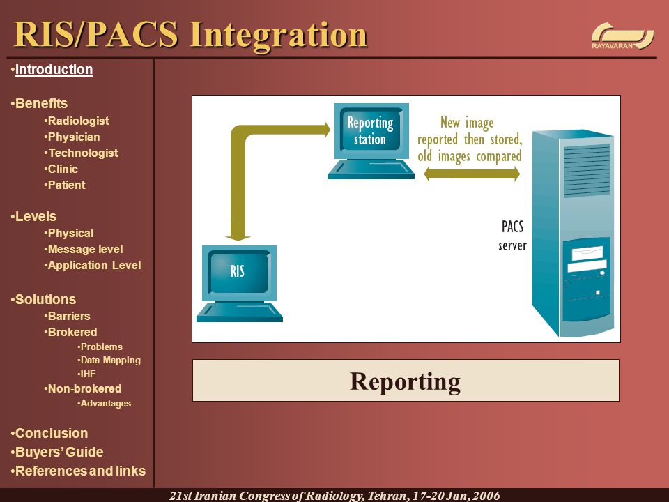 Reporting RIS/PACS Integration 21st Iranian Congress of Radiology, Tehran, 17-20 Jan, 2006 Introduction Benefits Radiologist Physician Technologist Cl