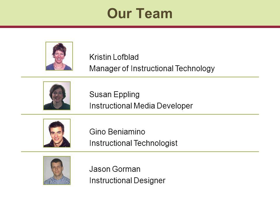 Our Team Kristin Lofblad Manager of Instructional Technology Susan Eppling Instructional Media Developer Gino Beniamino Instructional Technologist Jason Gorman Instructional Designer